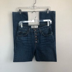 Reformation Mid Rise Button Fly Denim Jeans 25